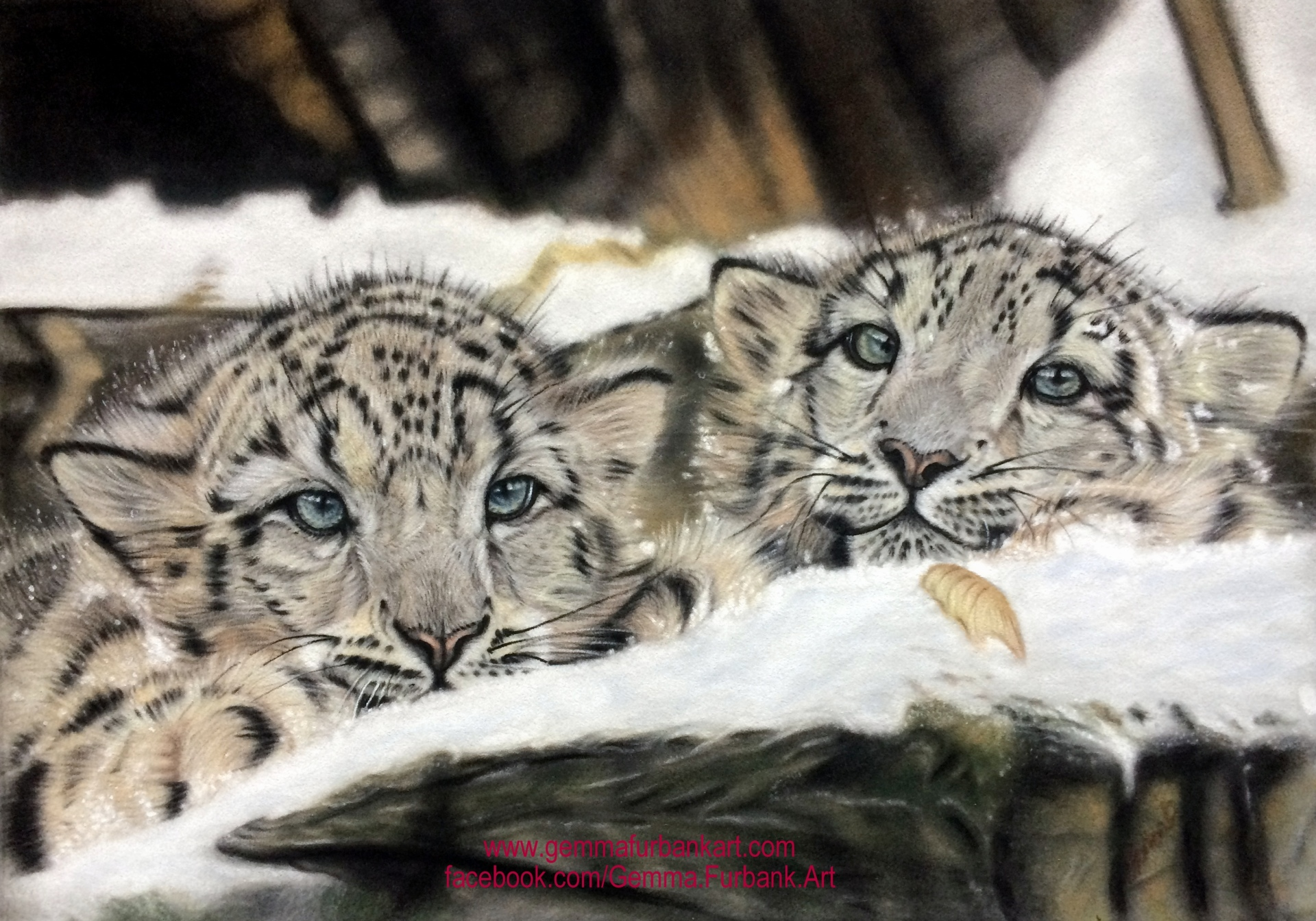 Snow Leopard Cubs in Soft Pastel